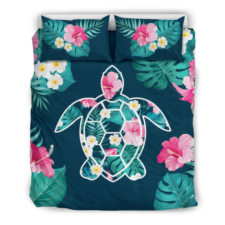 Flower Sea Turtle - Bedding Set - the ocean vibe Ocean Apparel