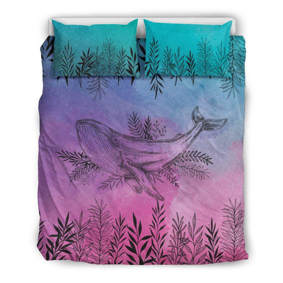 Flower Whale - Bedding Set - the ocean vibe Ocean Apparel