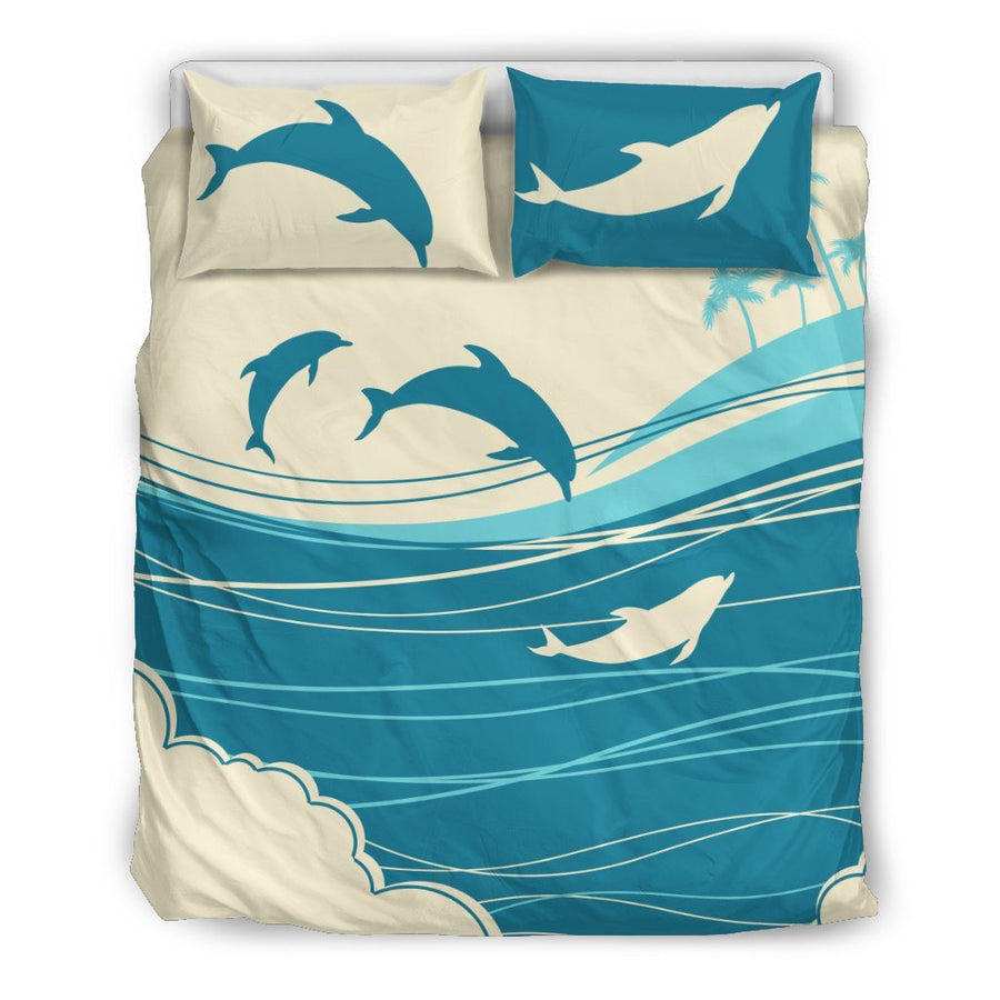 Blue Ocean & Dolphins - Bedding Set - the ocean vibe Ocean Apparel