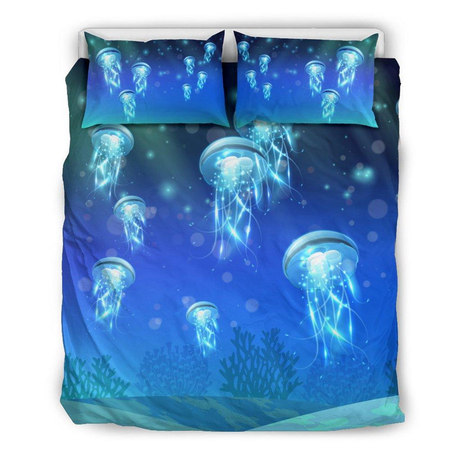 Underwater Night Life - Bedding Set - the ocean vibe Ocean Apparel