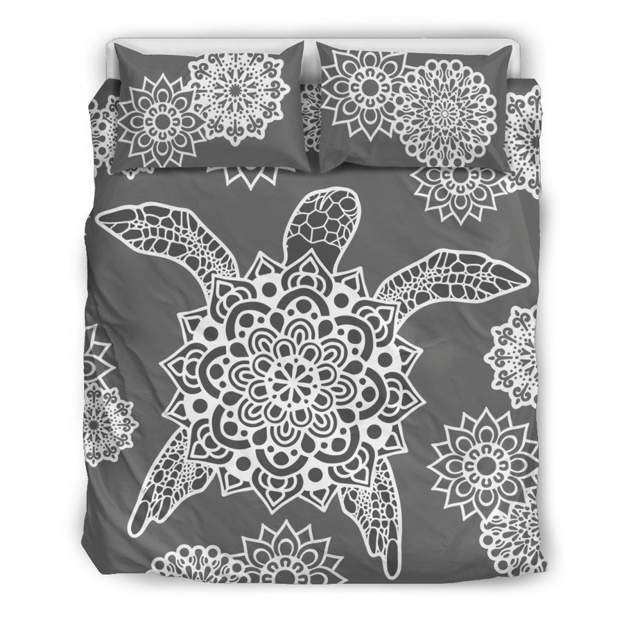 Mandala Grey Shell Sea Turtle - Bedding Set - the ocean vibe Ocean Apparel