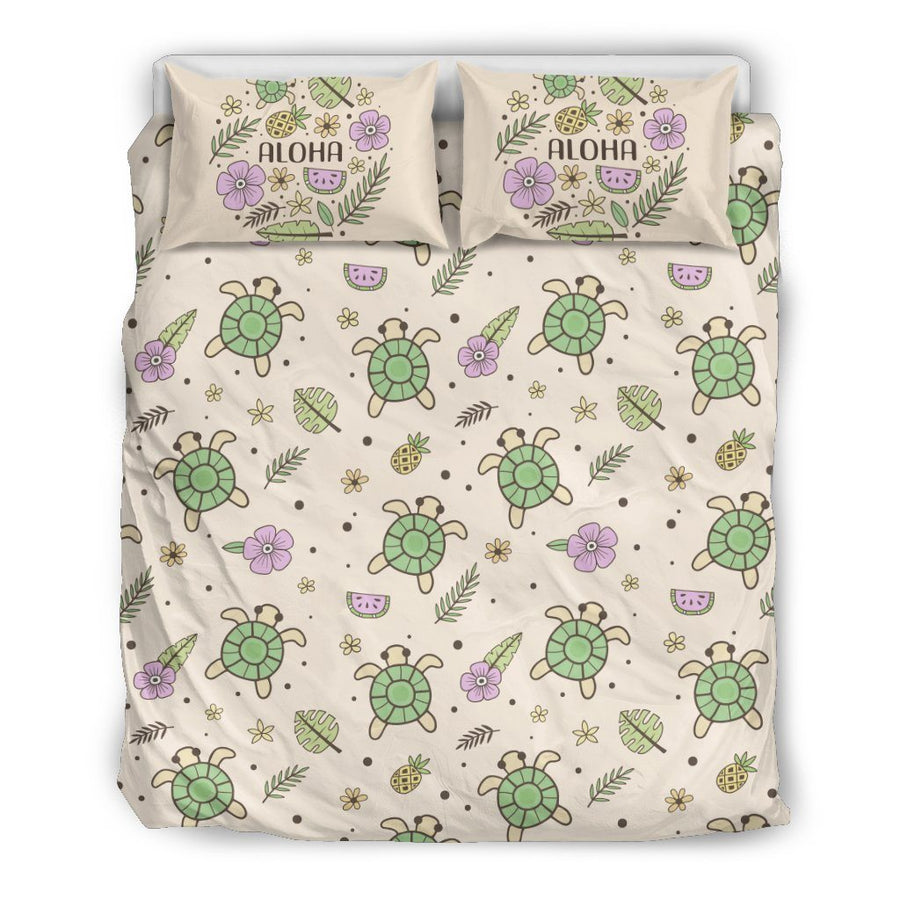 Aloha Sea Turtle - Bedding Set - the ocean vibe Ocean Apparel