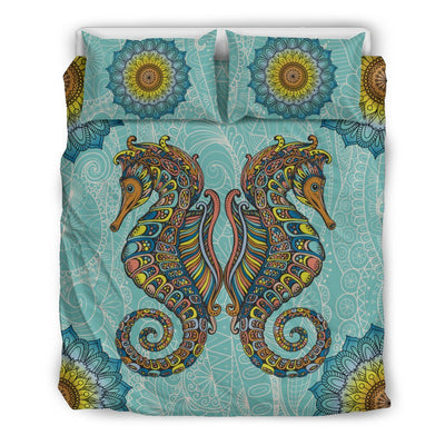 Seahorse zentangle - Bedding Set - the ocean vibe Ocean Apparel