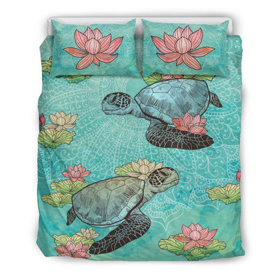 Lotus Sea Turtle - Bedding Set - the ocean vibe Ocean Apparel