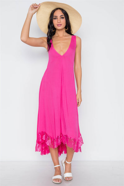Hot Pink Loose Maxi Dress