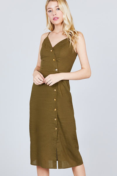 Goddess olive button down midi dress