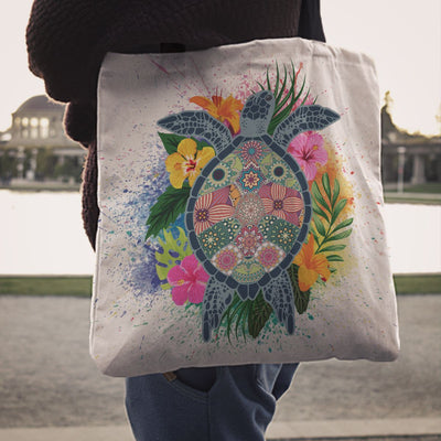Hippie Sea Turtle - Tote Bag - the ocean vibe Ocean Apparel