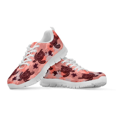Peach Sea Turtle - Women's Sneakers - the ocean vibe Ocean Apparel