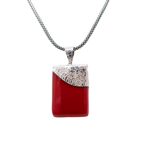 Opalescent Red & Sterling Silver Fused Glass Necklace - Elegant-Heritage-Finds