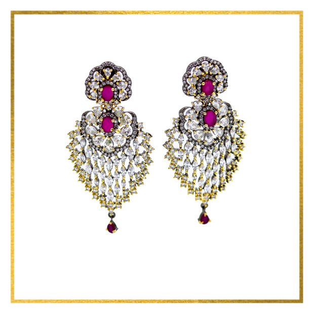 Two-Toned Earrings with Accent Stones - Elegant-Heritage-Finds