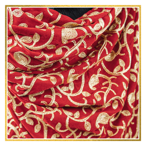 Red Leaf Velvet Shawl - Elegant Heritage Finds
