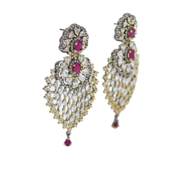 Two-Toned Earrings with Accent Stones - Elegant Heritage Finds