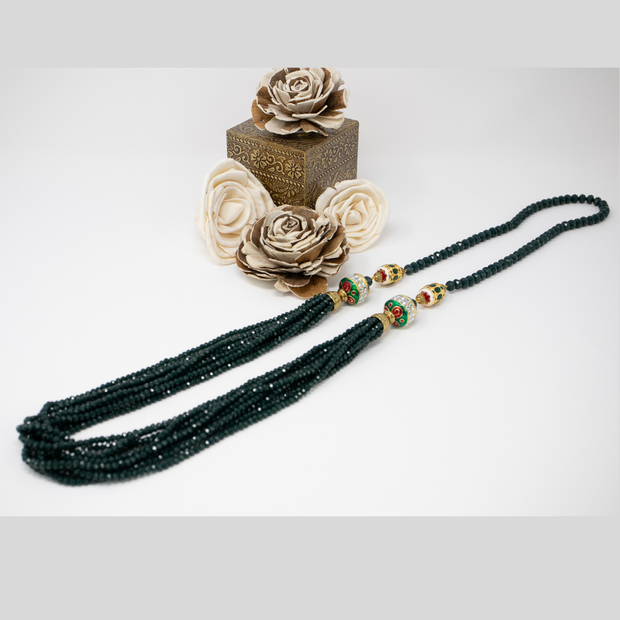 Green Crystal Mala - Elegant-Heritage-Finds