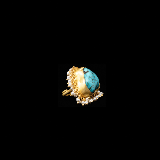 Turquoise Pearl Princess Ring - Elegant Heritage Finds
