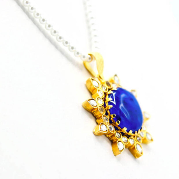 Royal Blue Fused Glass Cabochon Kundan Necklace Set - Elegant-Heritage-Finds