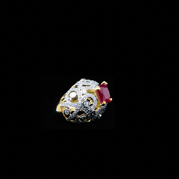 Ruby Red and CZ Ring - Elegant-Heritage-Finds