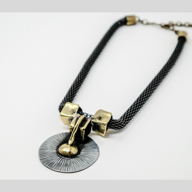 Tribal Bronze & Pewter Geometric Necklace - Elegant Heritage Finds