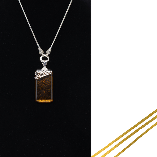 Amber & Sterling Silver Fused Glass Necklace - Elegant-Heritage-Finds