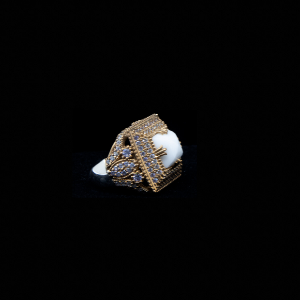 White Royal Sterling Silver Ring - Elegant Heritage Finds