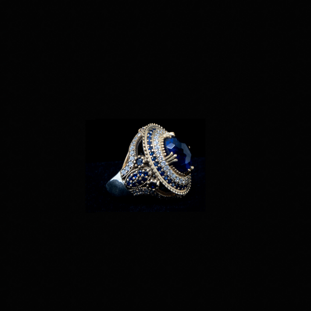 Sapphire Blue Royal Sterling Silver Ring - Elegant-Heritage-Finds