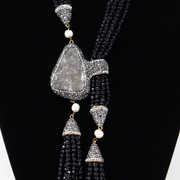 Black Crystal & Amethyst Statement Necklace - Elegant Heritage Finds