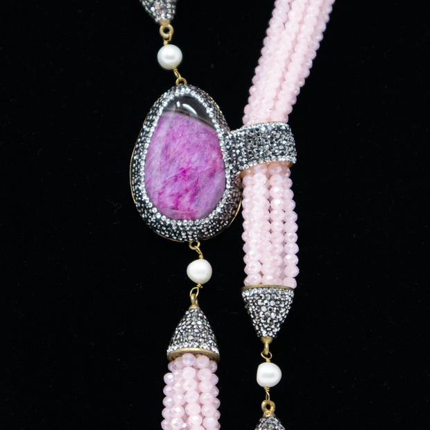 Pink Crystal & Jade Statement Necklace - Elegant Heritage Finds