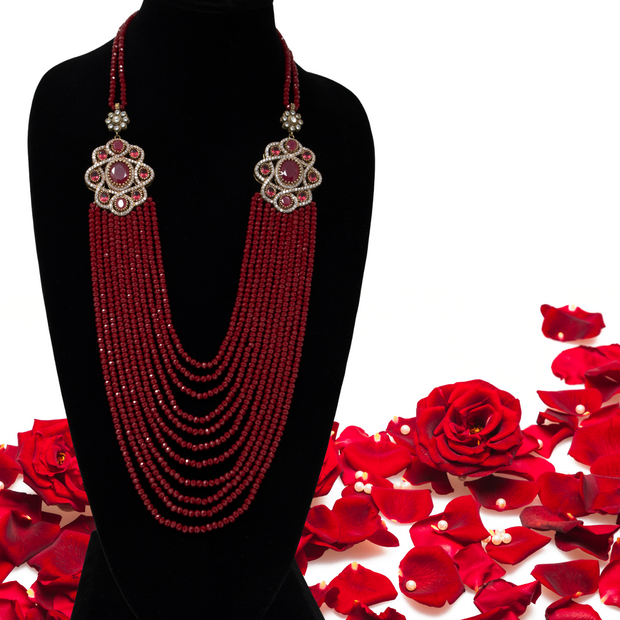 Turkish Deep-Red Crystal Strand Necklace - Elegant Heritage Finds