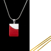 Opalescent Red & Sterling Silver Fused Glass Necklace - Elegant Heritage Finds