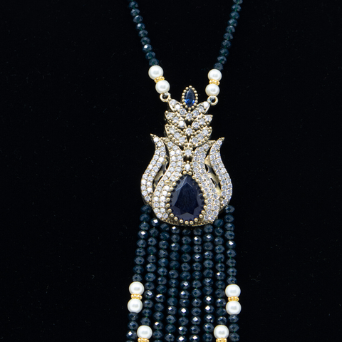 Midnight-Blue Turkish Crystal Necklace - Elegant-Heritage-Finds
