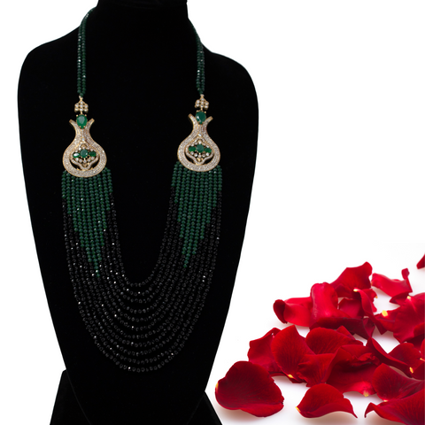 Turkish Green & Black Crystal Strand Necklace - Elegant Heritage Finds