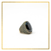 Tribal Bold Black Oval Ring - Elegant-Heritage-Finds