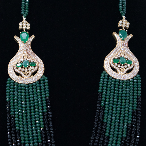Turkish Green & Black Crystal Strand Necklace - Elegant-Heritage-Finds