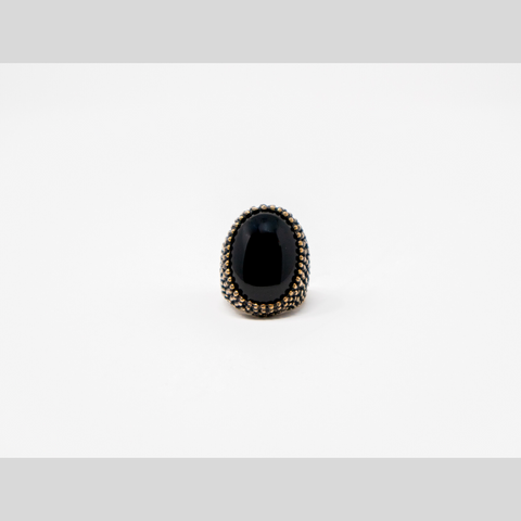 Tribal Bold Black Oval Ring - Elegant Heritage Finds