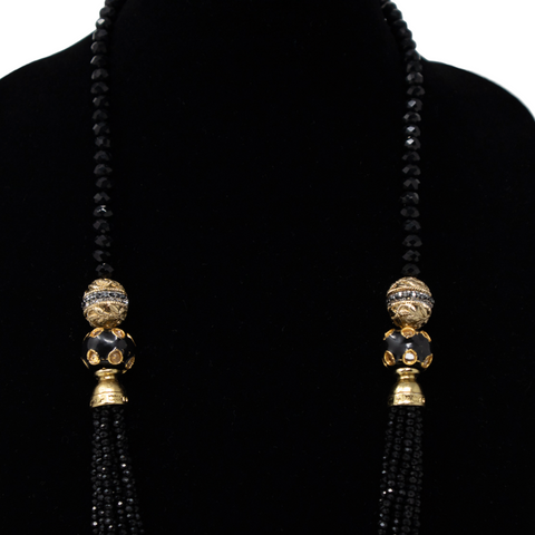 Black Crystal Mala - Elegant Heritage Finds