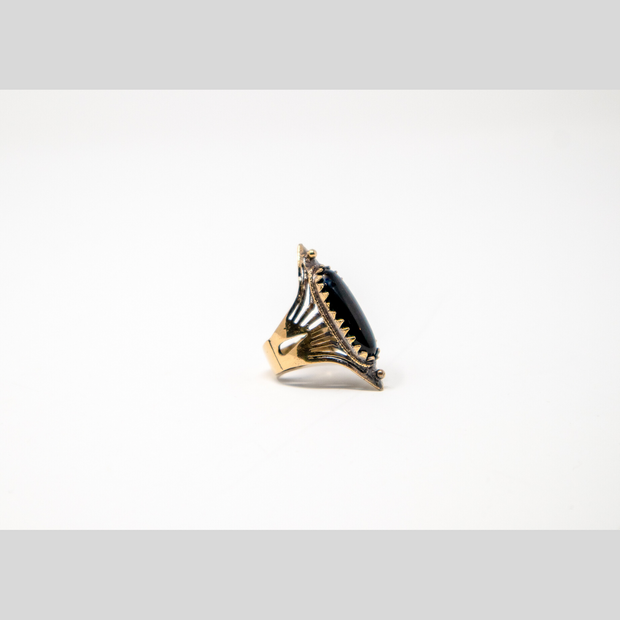 Tribal Black Oval Ring - Elegant Heritage Finds