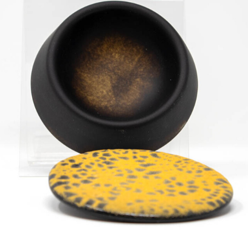 Black & Gold Fused Glass Trinket Dish w/Lid - Elegant Heritage Finds