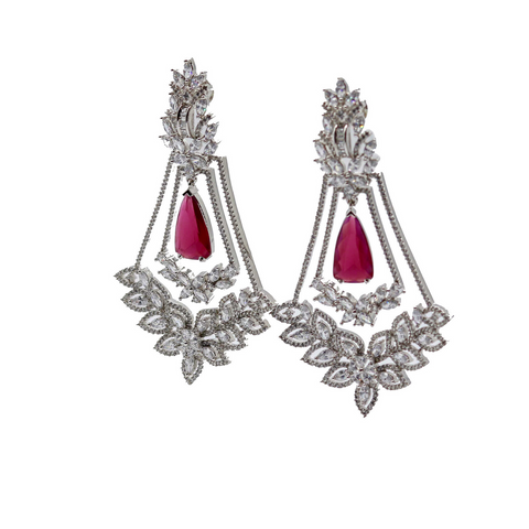 CZ & Ruby Red Earrings - Elegant Heritage Finds