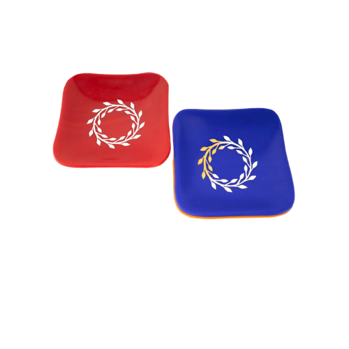 Mini Fused Glass Trinket Tray in Blue or Red - Elegant Heritage Finds