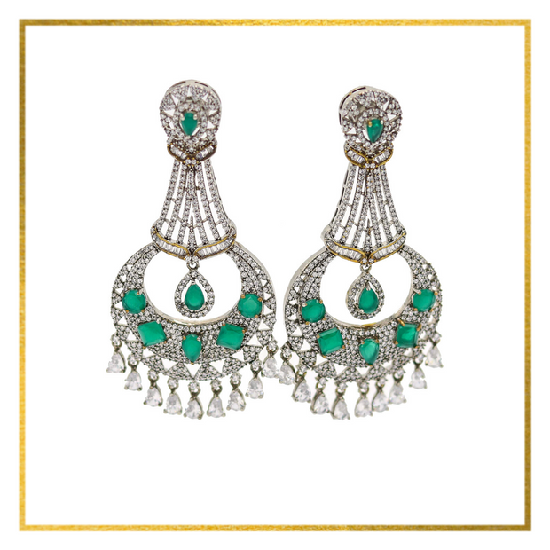 CZ & Emerald Green Earrings - Elegant-Heritage-Finds