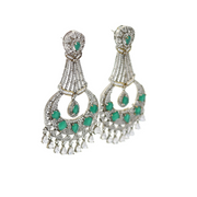 CZ & Emerald Green Earrings - Elegant Heritage Finds