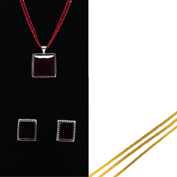 Garnet & Sterling Silver Fused Glass Necklace Set - Elegant-Heritage-Finds