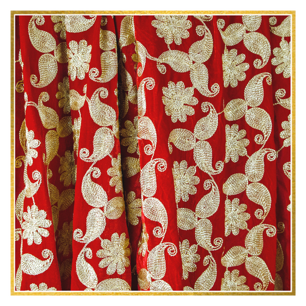 Red Floral Velvet Shawl - Elegant-Heritage-Finds