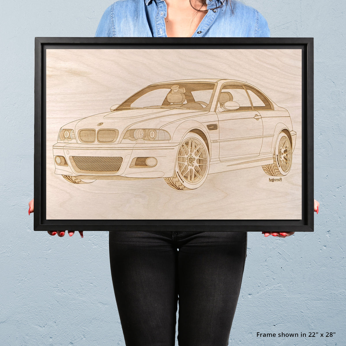 BMW M3 e46 Framed Wood Engraved Artwork - Lugcraft