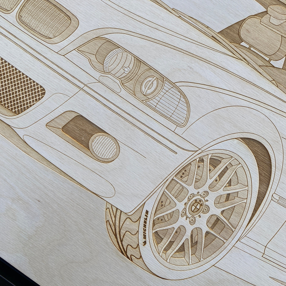 BMW M3 e46 Framed Wood Engraved Artwork