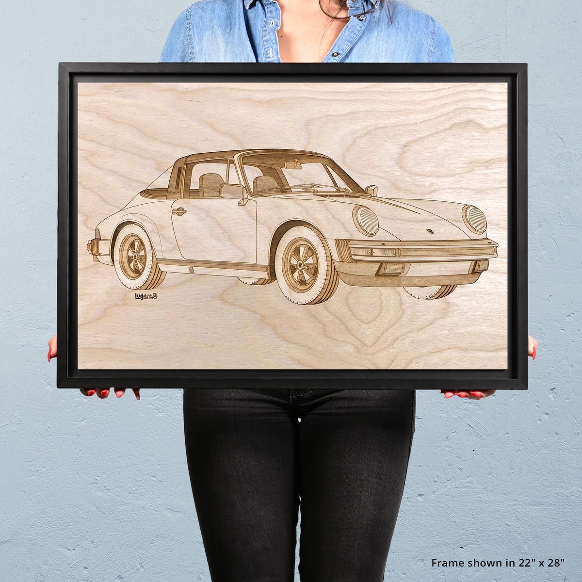 Porsche 911 Targa 1985 Framed Wood Engraved Artwork
