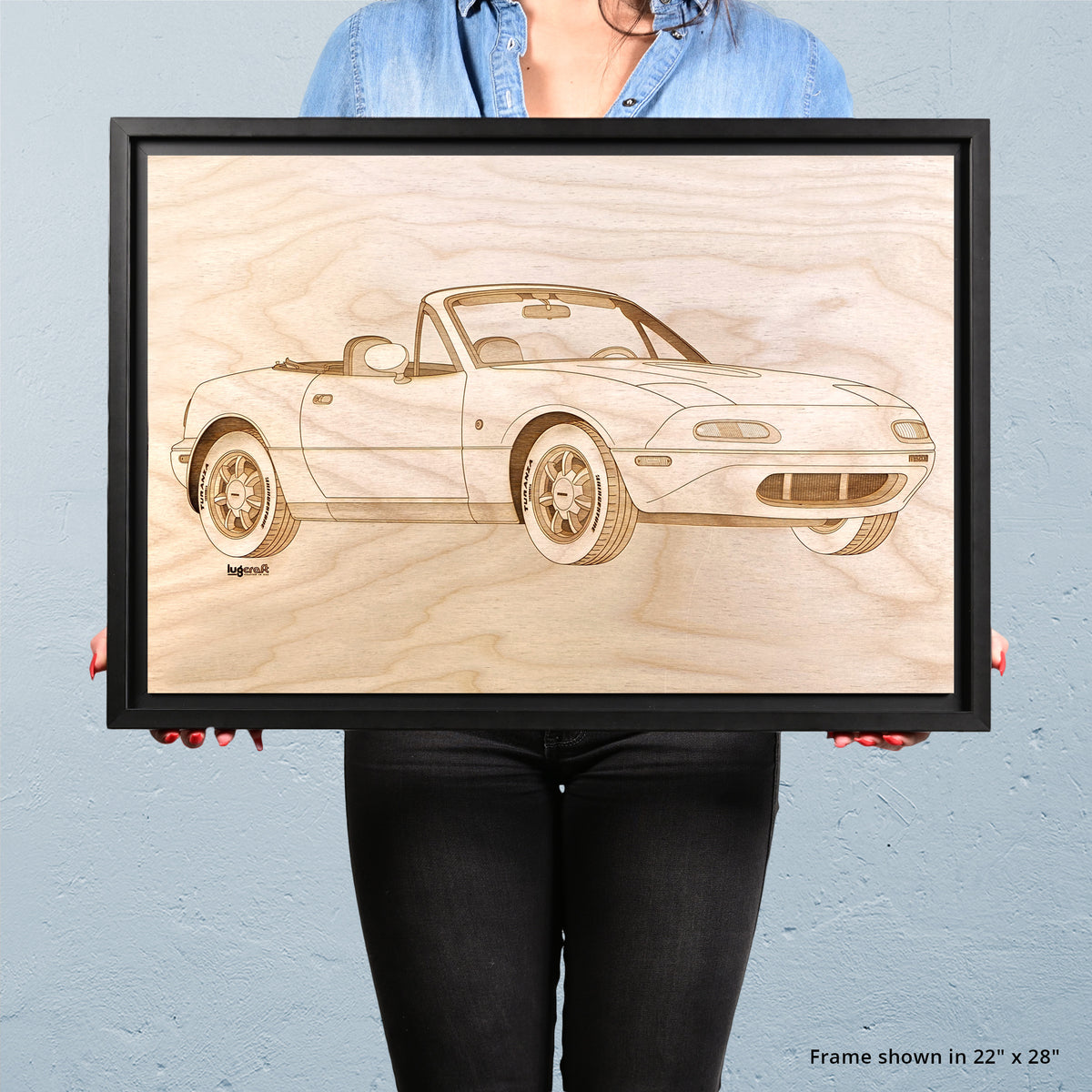 Mazda Miata Framed Wood Engraved Artwork