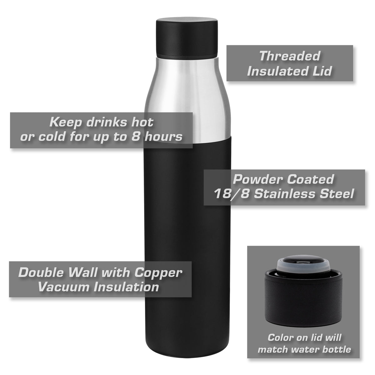 Jeep Wrangler 4 Door Side Profile Insulated Stainless Steel Water Bottle - 21 oz