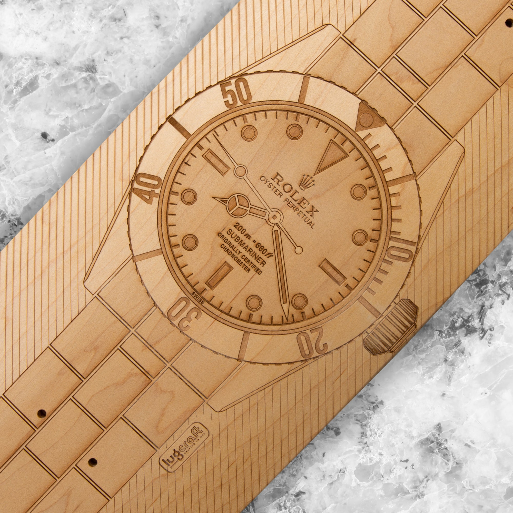RO Submariner Big Crown Skateboard Wall Art - Natural Maple