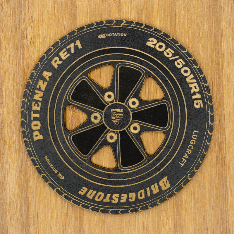 Porsche 911 Rim Coasters<br>Set of 6 in Black