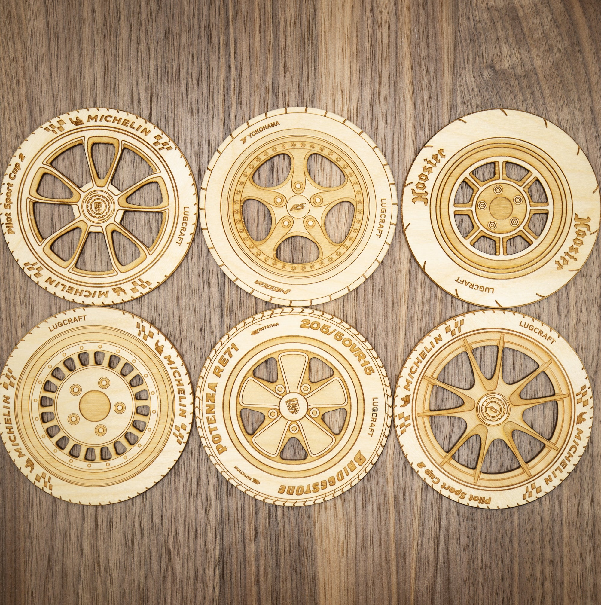 Porsche 911 Rim Coasters<br>Set of 6 in Natural Birch